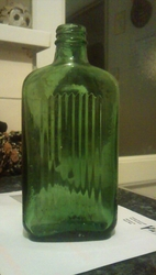 vintage green glass Poison bottle