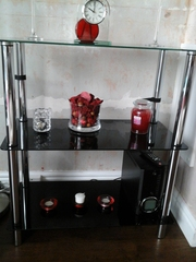 1x3 Tier black glass stand.